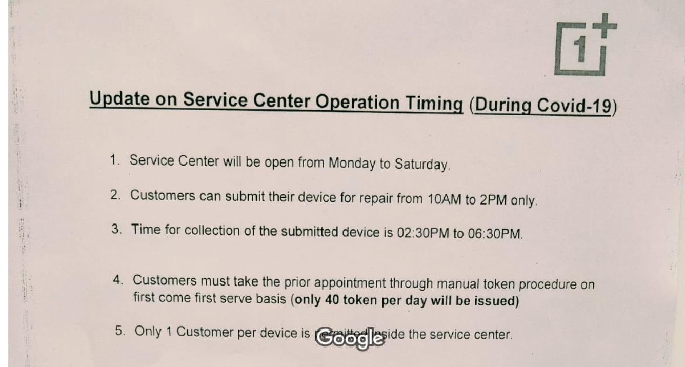 OnePlus Exclusive Service Centre delhi COVID update